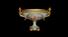 round mouth exquisite workmanship gold inlay ceramic compote, lovely angels theme golden square base bowl