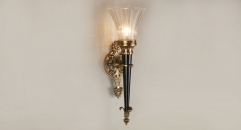 energy saving golden copper and import glass wall lamp, art decoration bedroom lighting, victory torch reading lamp