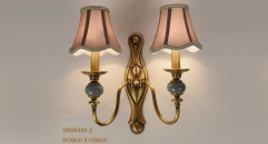 energy saving golden copper and porcelain wall lamp, art decoration bedroom lighting, european antique imitation reading lamp