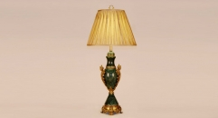 exquisite golden copper and import dark green marble table lamp, energy saving and environmental friendly table light