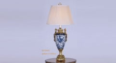 two lovely angels decoration golden copper blue and white porcelain table lamp, vintage beauty design table light