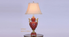 wedding decoration golden copper lucky red porcelain table lamp, vintage beauty design table light, luxury wedding gift