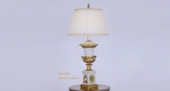 royal white porcelain and golden copper table lamp, fashionable beauty design table light, classical wedding gift