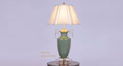 jade green porcelain and golden copper vase shape table lamp, antique design luxury wedding gift