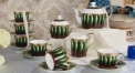 15 pieces high quality green leaves theme coffee set ,royal european style coffee set, bone china tea set
