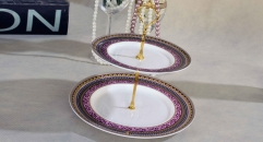 exquisite workmanship royal bone china 2 layer porcelain style tray, double layer violet irregularity decoration fruit plate