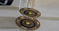 Medusa workmanship royal bone china 2 layer porcelain style tray, double layer dark blue decoration fruit plate