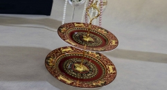 Medusa workmanship royal bone china 2 layer porcelain style tray, double layer dark red decoration fruit plate