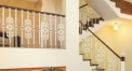 European interior design classical aluminum stair railing, beige plating and flowers carving fence