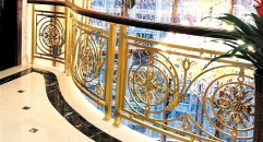 luxury style golden copper flowers carving stair railing, high quality workmanship fence