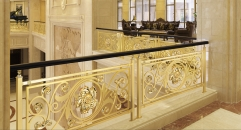 royal style golden copper flowers carving stair railing, high quality workmanship fence