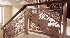 Chinese literature style red copper antique design carving stair railing, exquisite workmanship fence