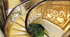 luxury style golden copper flowers carving stair railing, exquisite workmanship fence