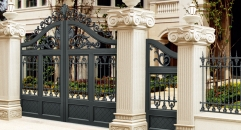 European design black villa outside gate, flowers carving security aluminum door
