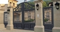 splendid design black villa outside gate, flowers carving security aluminum door