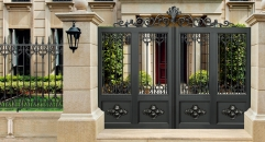 luxury design black villa outside gate, flowers carving security aluminum door