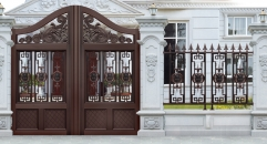 dark brown villa outside gate, security aluminum door