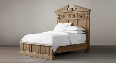 American Style Rustic Luxurious Solid Wood Bed with Decorative Headboard