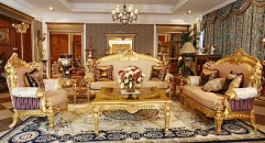 luxury European style woodcarving golden sofa set, square table, end table