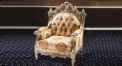 antique Baroque style wood carving single chair, flower decorated