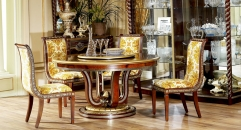 luxury new classical style wood carving round dining table