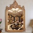 Refined Wood Carving Mirror European Style Luxury Decor Wall Art