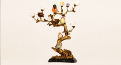 Vivid lovely birds singing on the trees style candle holder, luxury copper and ceramic candlestick,