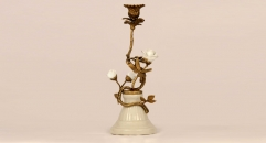 Luxury white rose decoration porcelain and copper candle holder, home decoration copper candlestick