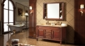 teak color ashtree solid wood cabinet and mirror, wood grain yellow marble, three holes and double basins bathroom vanities