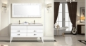 snow mountain white oak cabinet and mirror, Volakas white marble, single hole and double basins bathroom vanities