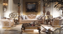 Luxury Imperial Flower Decorative Living Room Set Sofa Set Top Quality Fabric