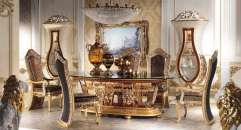 Luxury Imperial Golden Wood Carved Decorative Dining Room Set