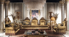 Luxury Imperial Living Room Set Golden Sofa Set Top Quality Fabric