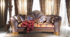 Luxurious Imperial Flower Decorative Living Room Purple 3 Seater Sofa Set Top Quality Fabric Settee