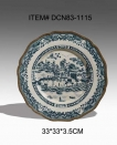 European Style Ceramic and Brass Landscape Decorative Plate Antique Porcelain Wall Art Dish
