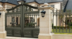 ink black villa outside gate, flowers carving security aluminum door